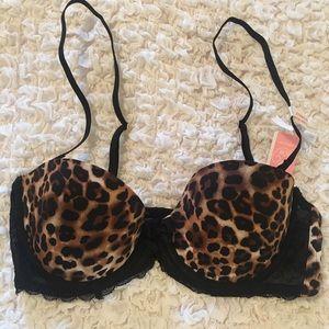 Leopard Print & Black Lace Bra